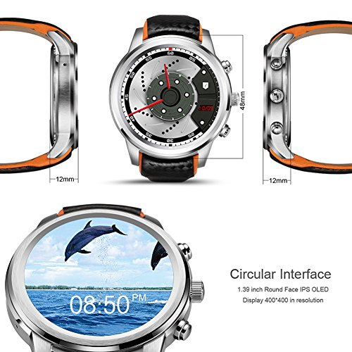 Amazon.com  LEMFO LEM5 Smart Watch Android 5.1 MTK6580 Quad Core 1GB 8GB 3G  WIFI GPS Heart Rate Monitor Cell Phone Smartwatch for Anrioid iOS (Black)   Cell ... 563b65330d9