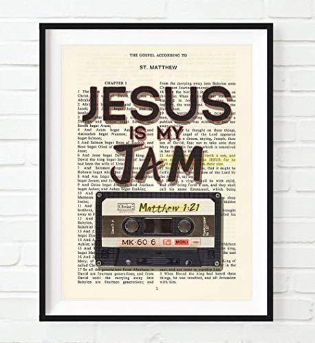 Vintage Bible Verse Scripture - Jesus Is My Jam - Matthew 1:21- Christian Art Print, Unframed, Retro Tape Cassette Artwork, Christian Wall and Home Decor, All Sizes