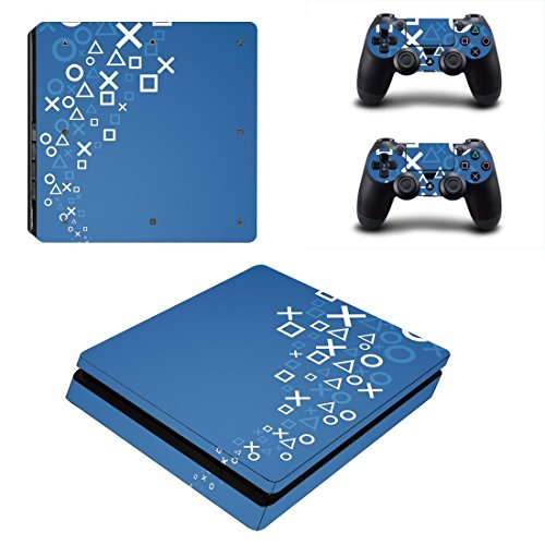 Chickwin PS4 Slim Vinyl Skin Full Body Cover Sticker Decal For Sony Playstation 4 Slim Console & 2 Dualshock Controller Skins (Blue XO)