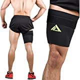 Thigh Support Brace, Adjustable Non-slip Thigh Slimmer Trimmer Compression Thigh Sleeve Wrap Brace for Sore Hamstring, Quad Support or Injury Recovery, Running & Sports 4 Sizes