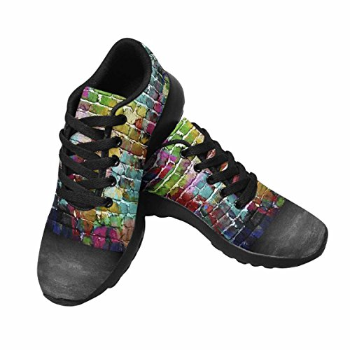 Interesprint Mujeres Trail Running Zapatillas Jogging Ligero Deportes Walking Athletic Sneakers Graffiti Brick Wall Multi 1