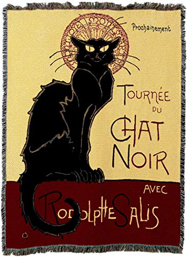 - Pure Country Weavers - Tournee Chat Noir Cat Woven Tapestry Blanket with Fringe Cotton USA 72x54