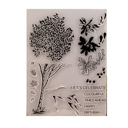 ForHe Tree Perfectly DIY Silicone Clear Stamp for Card Making Decoration and Scrapbooking for Christmas Thanksgiving Gifts