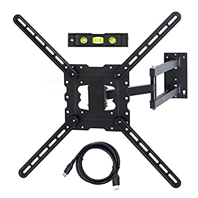 "TV Wall Mount Fits most 22""-55"" LCD/LED/Flat Screens up to 88lb. Full Motion Swivel Articulating Arm. Tilt, 20"" Extension Arm, VESA 400x400, HDMI Cable & Bubble Level"