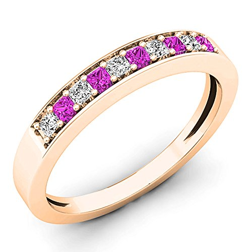 Dazzlingrock Collection 18K Princess Pink Sapphire & White Diamond Ladies Wedding Ring, Rose Gold, Size 6
