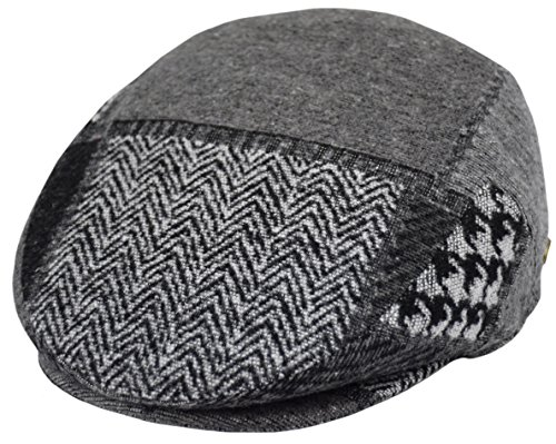- Classic Men's Flat Hat Wool Newsboy Herringbone Tweed Driving Cap (IV2761-Gray, X-Large)