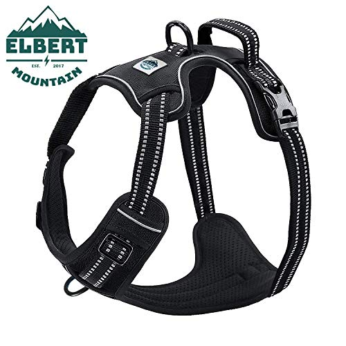 Dog Harness No Pull No Choke Adjustable Vest, Car Safety, Easy Control for Walking Hiking, 3M Reflective Oxford Material, Durable, Breathable - Small,Medium, Large & Extra Large Dog & Puppy M-Black (Saints Dog Harness)