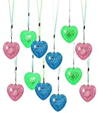Dazzling Toys Assorted Colors Blinking Love Hearts Necklace On Colored Strings 12 Per Pack