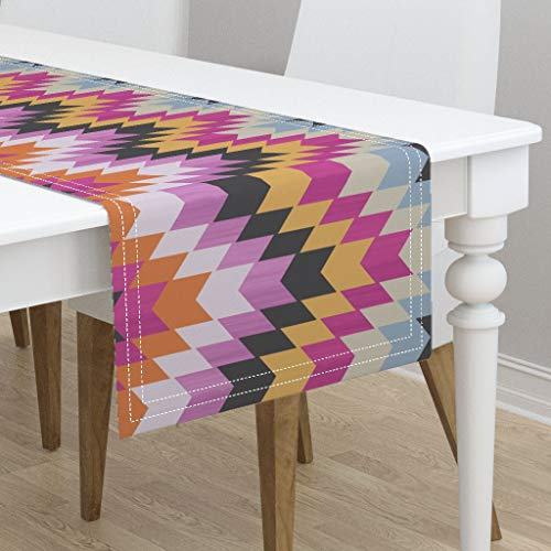 Table Runner - Turkish Rug Bohemian Zigzag Stripes Kilim Warm Colors Chevron Roosteryse2018 by Ghouk - Cotton Sateen Table Runner 16 x 72