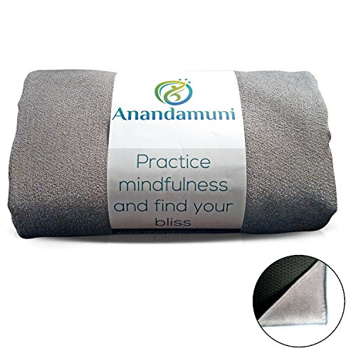 Serious Yogis choice - Anandamuni Skidless Yoga Towel (28' by 72') PERFECT FOR WIDER MATS (i.e...