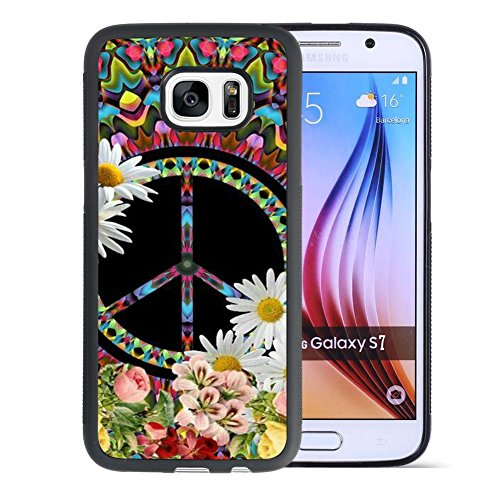 Samsung Galaxy S7 Case With Floral Peace Sign Pattern Whimsical Design Bumper Black Soft TPU and PC Protection Anti-Slippery &Fingerprint Case For Samsung Galaxy S7