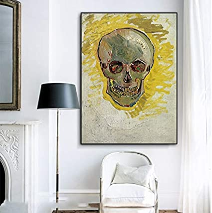 Geiqianjiumai Cráneo Abstracto Pintor Abstracto Famoso Mural Lienzo Arte Cartel Sala de Estar Dormitorio Moderno decoración Mural sin Marco Pintura 30x40cm