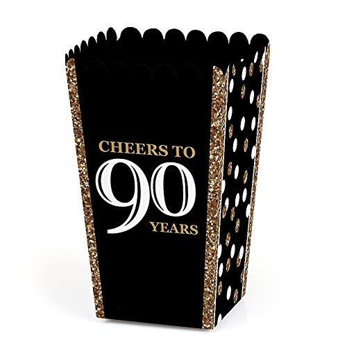 Adult 90th Birthday - Gold - Birthday Party Favor Popcorn Treat Boxes - Set of 12 ()
