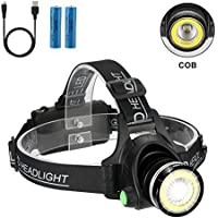 KJLand 2-in-1 6000 Lumen Waterproof USB Rechargeable Headlamp Flashlight