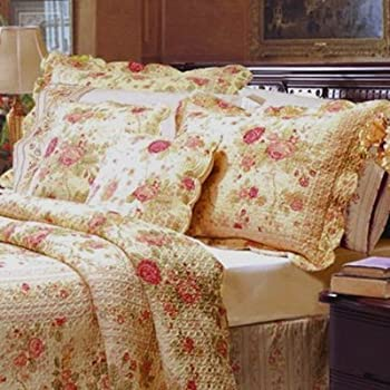Well Wreapped Cottage Romantic Quilt Set With Shams Floral Roses