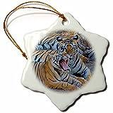 3dRose Danita Delimont - Big Cats - Bengal tigers, Bandhavgarh National Park, India - 3 inch Snowflake Porcelain Ornament (orn_276775_1)