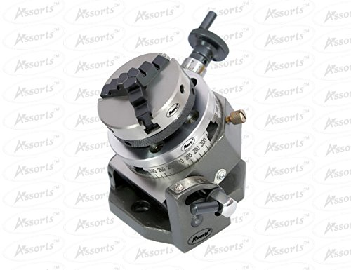 3'' Inches (75 mm) Tilting Rotary Table+ 65 mm 3 Jaws Self Centering Chuck+ Back Plate+ T-nuts by Global Tools