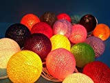 Design by UnseenThailand Handmade Cotton Ball String Lights Decoration (3metre 20 Globes/pack) Decor Wedding Bedroom Garden Spa and Holiday Lighting. (Mixed Colours)