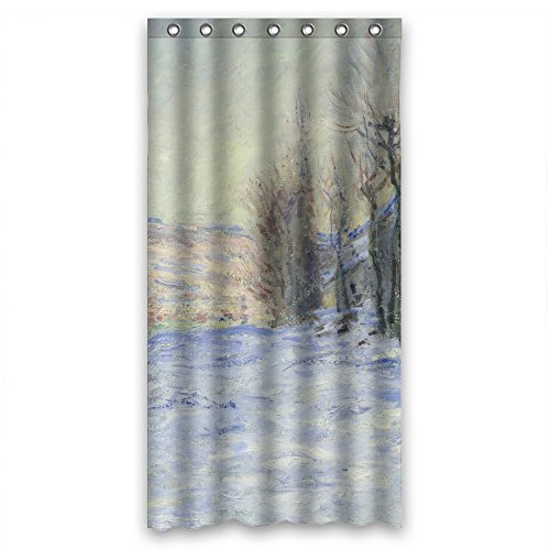 (Artsplaza Art Painting Claude Monet - Lavacourt Under Snow (1881) Polyester Bathroom Curtains Width X Height / 36 X 72 Inches / W H 90 By 180 Cm For Girls Husband Wife Custom Him. Home F)