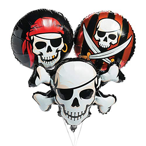 (Fun Express Pirate Mylar Balloon Set | 3 Count | Great for Party Decor, Themed Birthday, Halloween Party)