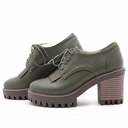 Latasa Mujeres Lace Up Block Heel Tassel Oxford Zapatos Verde Del Ejército