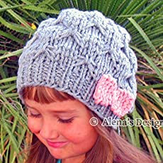 287b638e53c Knitted Pink Bow Hat Handmade Slouchy Beanie Gray Taupe Grey Black Hat  Toddler.