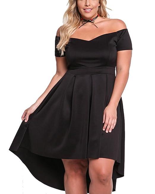 Mujer Dobladillo Irregular de Shoulder Off Manga Corta Vestidos de Cóctel Vestido Fiesta Negro XL