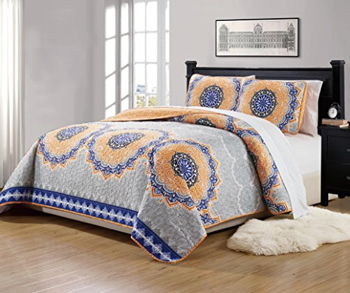 Mk Collection 3pc Full/Queen Size Bedspread Quilt Over size 106