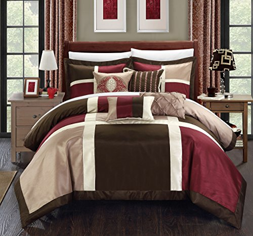 (Chic Home 11 Piece Alleta Patchwork Solid Color Block with embroidery and pintuck decorative pillows Queen Bed In a Bag Comforter Set Brown With White Sheets included)