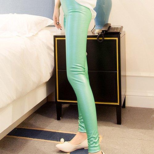Zhhlaixing mujeres Fashion Thin PU Leather Trousers Pencil Pants Skinny Leggings Purple
