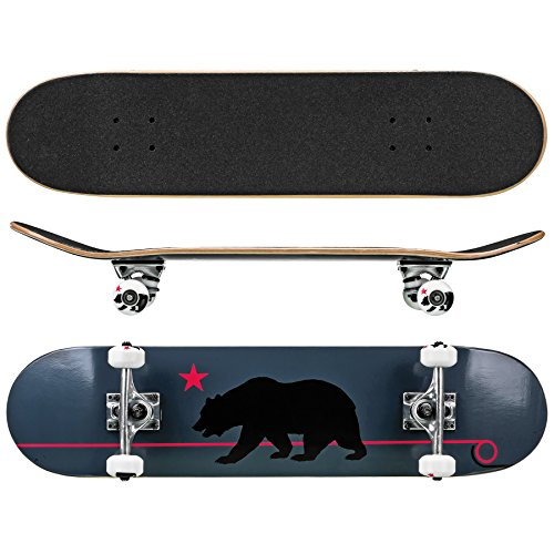 "Roller Derby Rd Deluxe Series Skateboard Gray Cali Bear, Multi, 31"" x 8"""