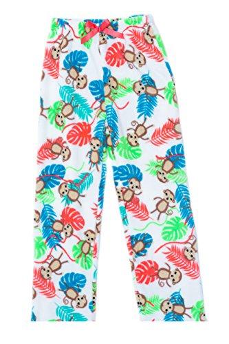 45500-10125-14-16 Just Love Plush Pajama Pants for Girls,Monkey Palms,Girls' - Monkey Fleece