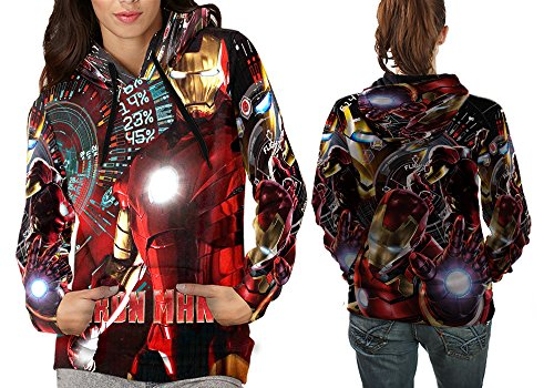 Superhero Costume Tee Iron Man Fans Print Sublimation Women Top shirt Size : S to 3XL (Pull Over, Small) ()
