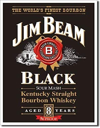 SRongmao Jim Beam Kentucky Straight Bourbon Whiskey Black Label Advertising Metal Tin Sign 16x12in New ()