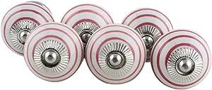 IndianShelf Handcrafted Pack of 6 White Maroon Stripes Furniture Dresser Door Knobs for Cabinets Cupboards Drawer Pulls Designer Gift