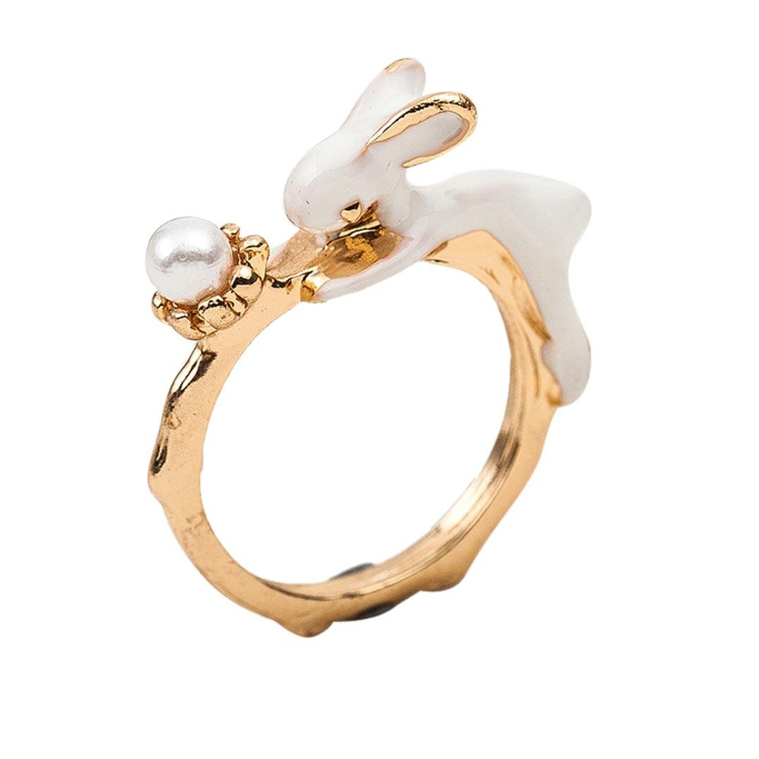FimKaul Lovely Bunny Ring Cute Rabbit Pattern Fashionable Ring Jewelry Easter Gift