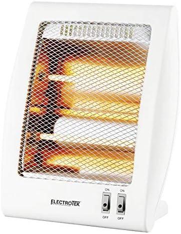 ELECTROTEK Estufa de Cuarzo ET-QH02, Cuenta con 2 Niveles de Temperatura: 400W/800W. Sistema de protección en Caso de vuelco Accidental de la Estufa.