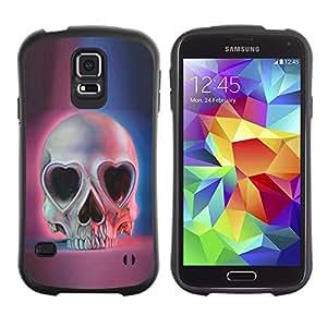 """Pulsar iFace Series Tpu silicona Carcasa Funda Case para Samsung Galaxy S5 , Amor del cráneo Corazones Ojos Azul Rosa Muerte"""""""