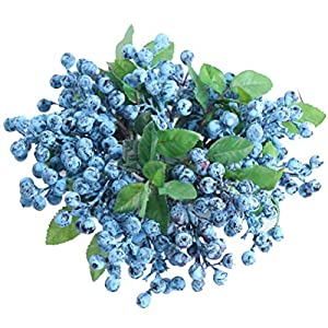 UUPP 6 Pcs Plastic Artificial Flowers Fake Berries Blueberry Fruit Spray for Home Wedding Office Party Decor, 9.1'' 70