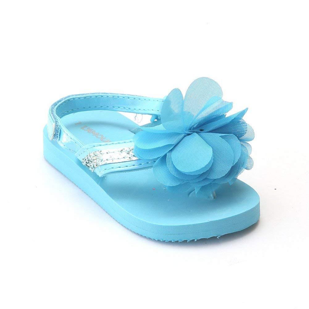 L`Amour Little Girls Blue Sequin Eva Foam Sandals 5-10 Toddler