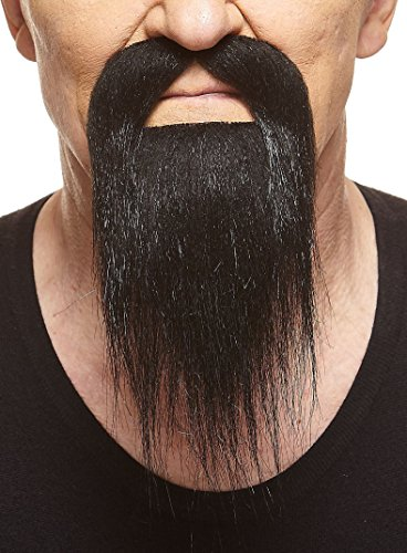 [Long Ducktail black fake beard, self adhesive] (Halloween Costumes With Beards And Long Hair)