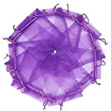 Wuligirl 100pcs Drawstring Organza Bag 6.7x9 Inches Purple Transparent Jewelry Pouches Watches Candles Nail Polish Chocolates Weeding Party Favor Festival Gift Cards Shell Coin Bag(50pcs Purple)