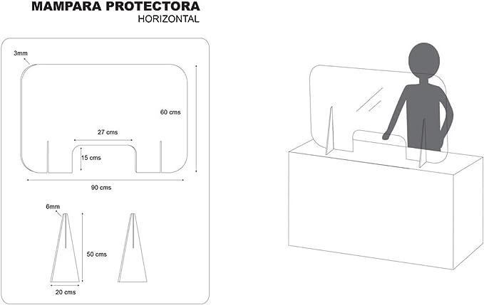 MAMPARA DE PROTECCIÓN METACRILATO TRANSPARENTE 90x60 HORIZONTAL: Amazon.es: Oficina y papelería