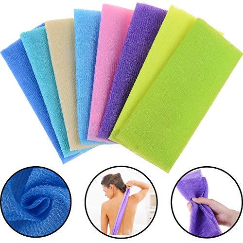 Xgood 8 Pieces Bath Towel Wash Cloth Beauty Skin Wash Towel Magic Shower Washcloth Exfoliating Bath Cloth for Women,Men,Baby Body(90cm 8 Colors)