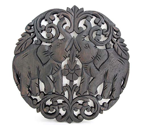 Blue Orchid Thai Elephant Teak Wood Wall Panel Hand Carved (Elephant Round Lotus)