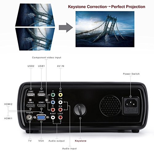 Yks 3d hd projector 3200 lumens led home theater projector for Hd projector amazon