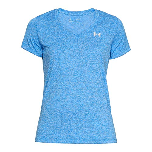 Under Armour Women's Tech V-Neck Twist, Blue Circuit (436)/Metallic Silver, XX-Large