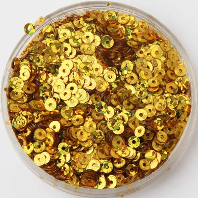 Jienie 500g/pack 3mm Flat Round Loose Sequins Paillettes Sewing Wedding Craft Women Garments DIY Accessories Available Sequin Trim - (Color: Laser Gold)