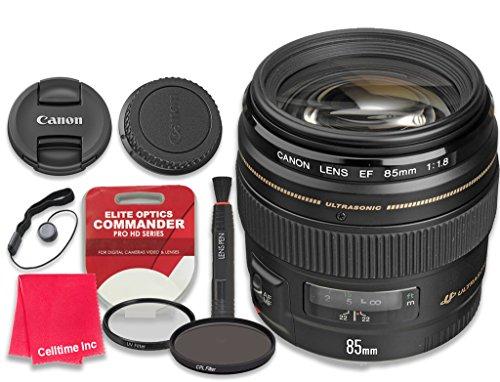 Canon EF 85mm f/1.8 USM Lens with Elite Optics Commander Pro HD Series Ultra-Violet Protector UV Filter & Circular Polarizer CPL Multi-Coated Filter - International Version by Celltime Inc.