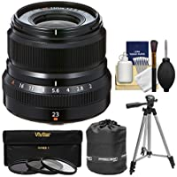 Fujifilm 23mm f/2.0 XF R WR Lens (Black) with 3 UV/CPL/ND8 Filters + Tripod + Pouch + Kit